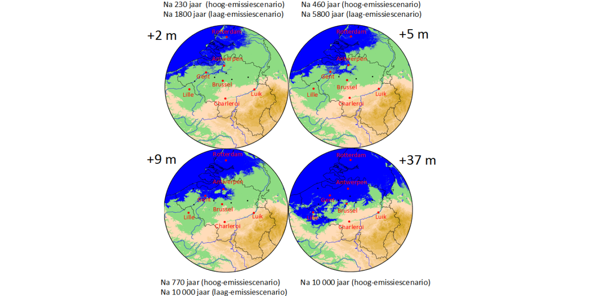 Zeeniveaustijgingin Belgie2M 5M 9M 37M